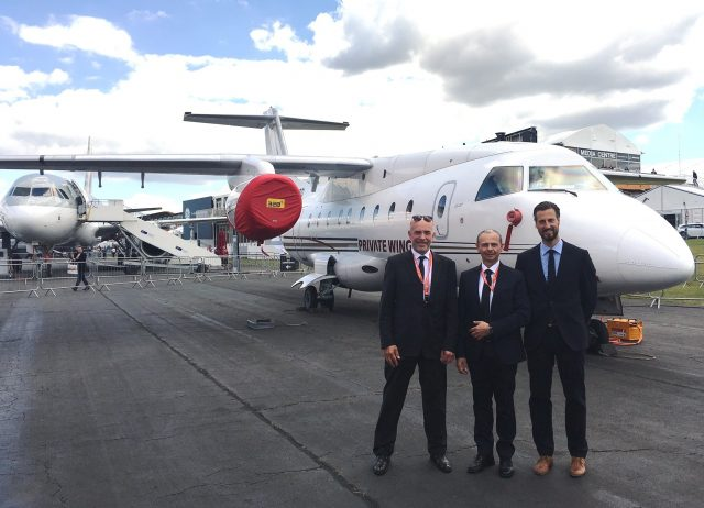 Farnborough Airshow 2016 v.l. Robert Heggemann (CEO), Robert Palaic (Sales Director), Dr. Christian Howe (COO)